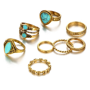 LILAH Faux Turquoise Midi Rings Set - 8 Pieces-Rings-omniqueen-festival-jewelry