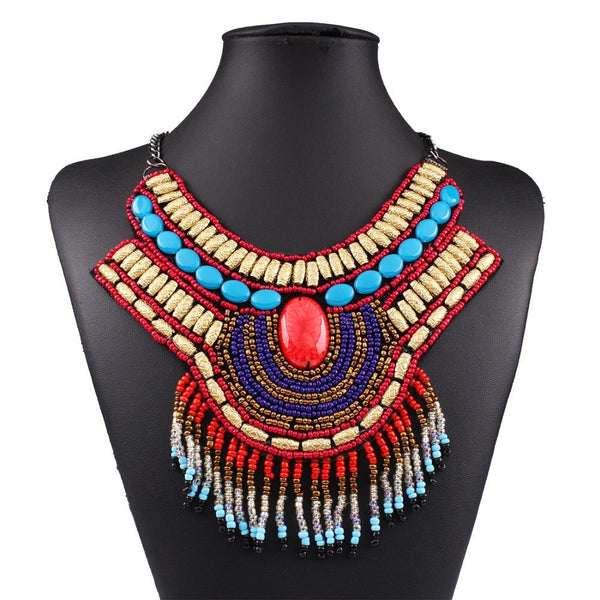 MAHAL Tribal Beaded Necklace-Necklaces-omniqueen-festival-jewelry