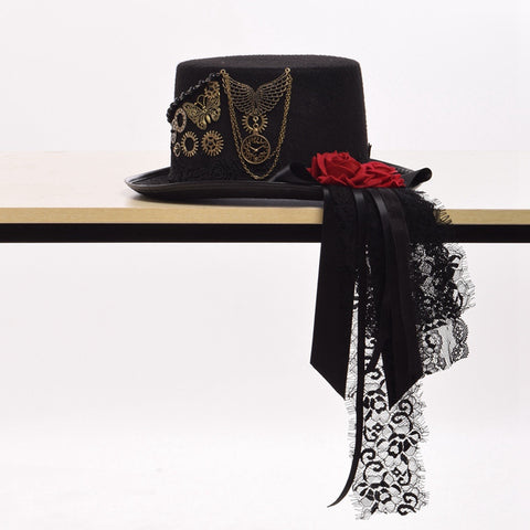 AUBREE Steampunk Red Rose Lace Top Hat