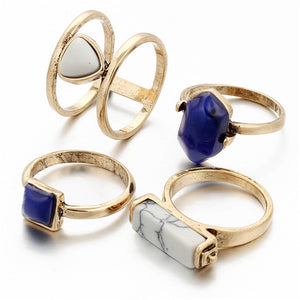 NAMI Faux Gem Midi Rings Set - 4 Pieces