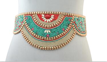 BRIELLE Intricate Turquoise Inlaid Waist Belt