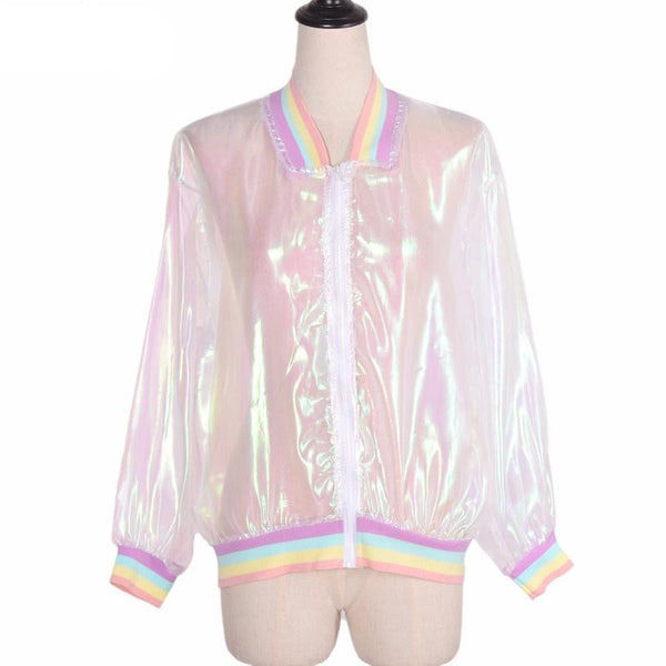 ABI Transparent Holographic Rainbow Bomber Jacket