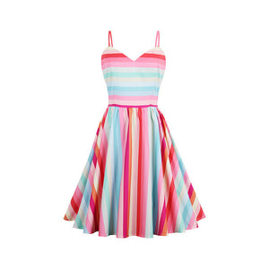 KAYLEE Summer Stripe Rainbow Dress