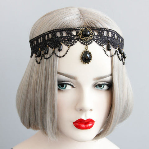 Ornate Lace and Faux Gem Headband