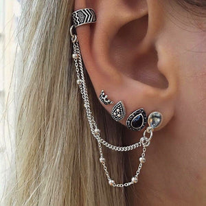 AIDA Bohemian Ear Cuff Chain and Studs Earring Set - 4 Pieces