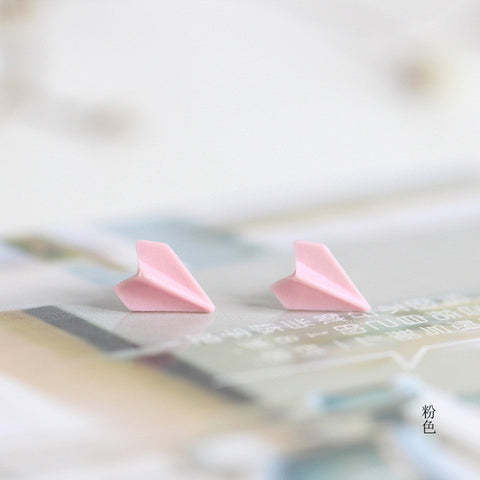 LALA Handmade Ceramic Paper Airplane Stud Earrings