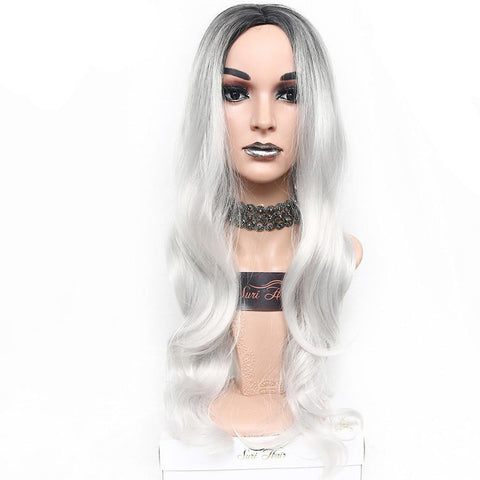 White Ombre Synthetic Wig With Dark Roots - 30 inches