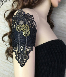 Steampunk Gear Black Lace Armband