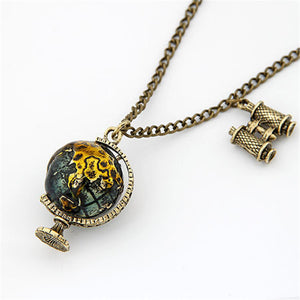 Vintage Travel Globe Necklace and Pendant-Necklaces-omniqueen-festival-jewelry