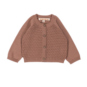 Cardigan Alice Petal Brown Coton Biologique 24m-3y