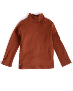 COL ROULÉ CÔTELÉ ROUILLE / RIBBED TURTLENECK RUST - 6y