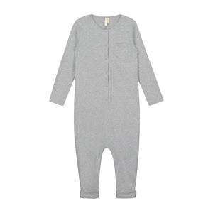 L/S Playsuit Grey Melange 18m-4y