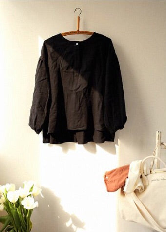 Blouse Sellio Noir en Lin & Coton/ Black Sellio Blouse - ONE SIZE -