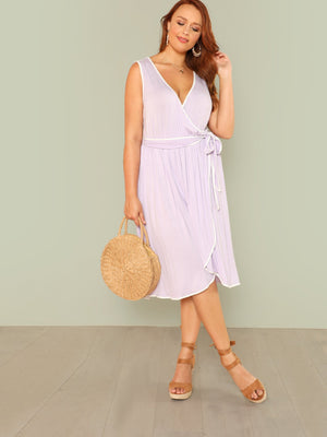 Cute Lilac Wrap Dress