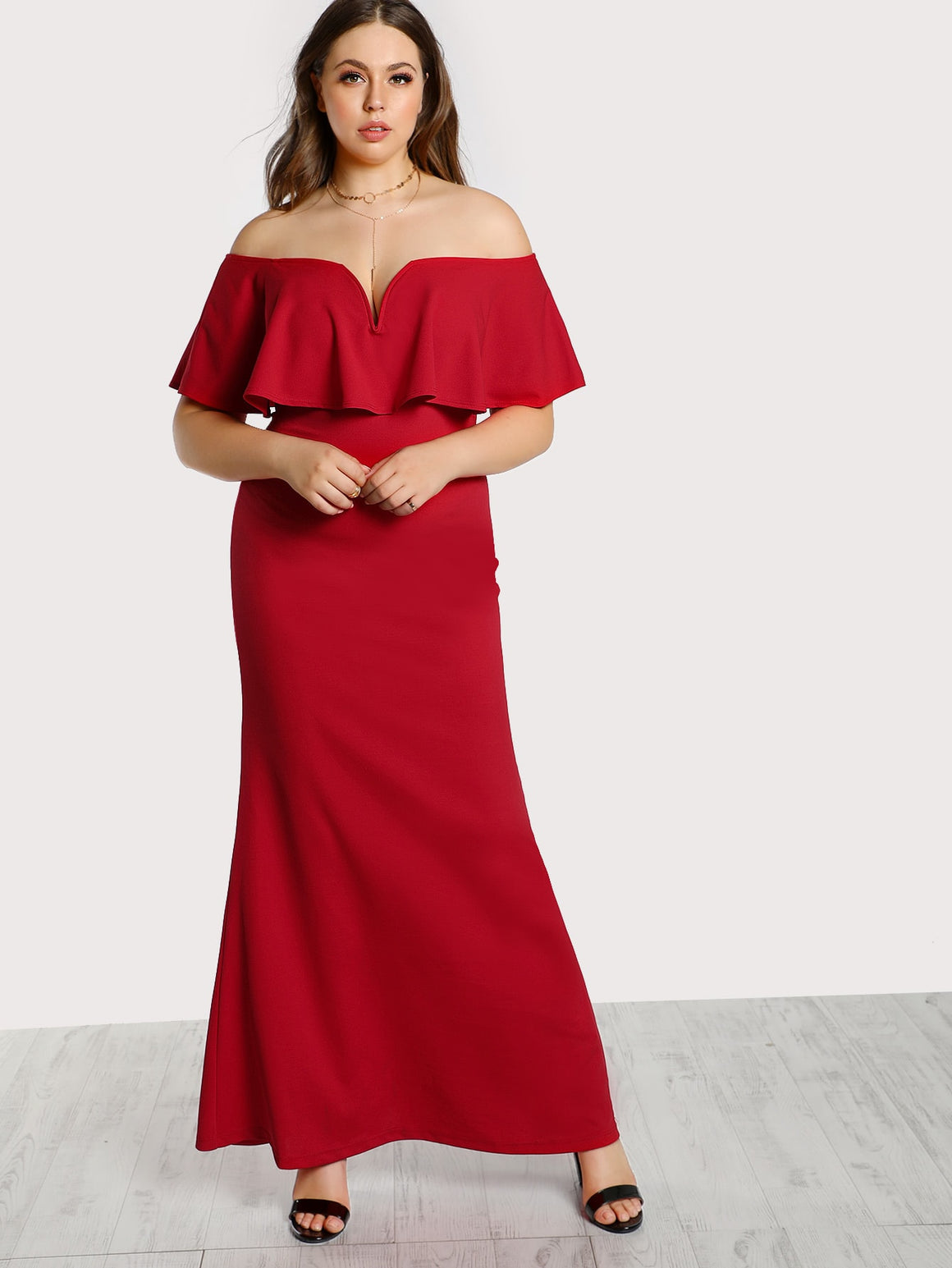 Poppy Frill Off Shoulder Dress
