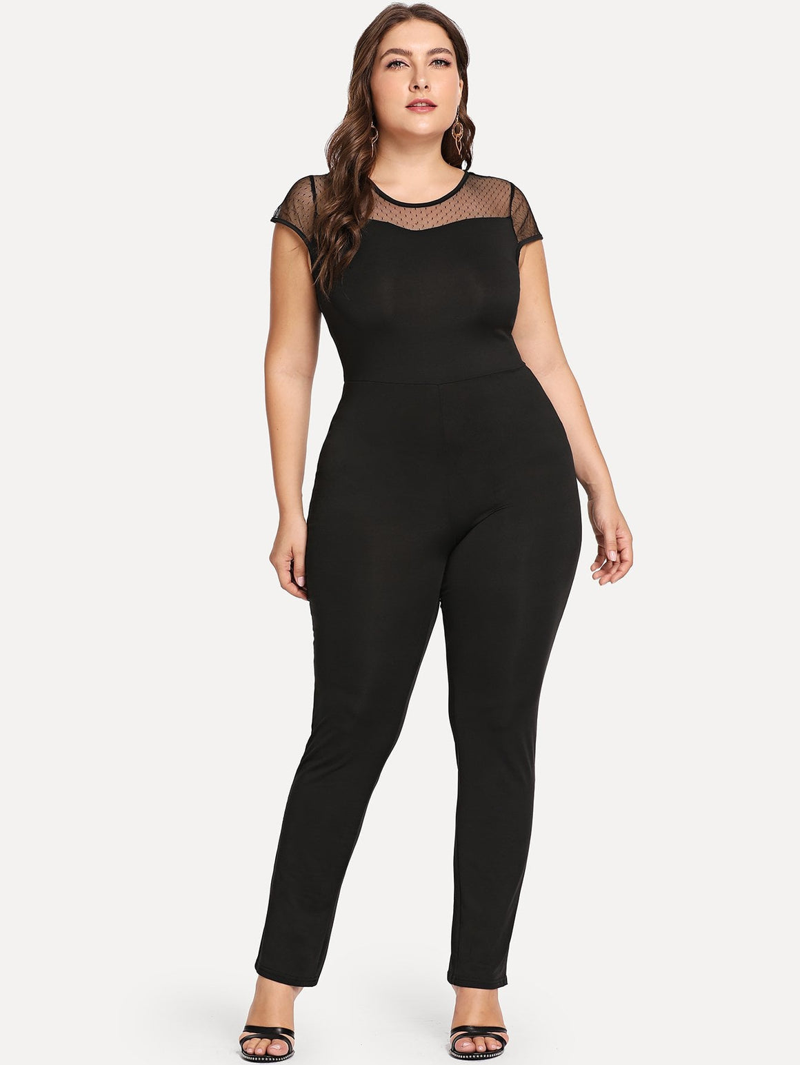Black Mesh Sheer Jumpsuit