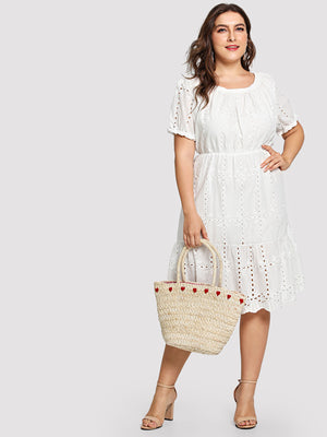 Embroidery White Ruffle Dress