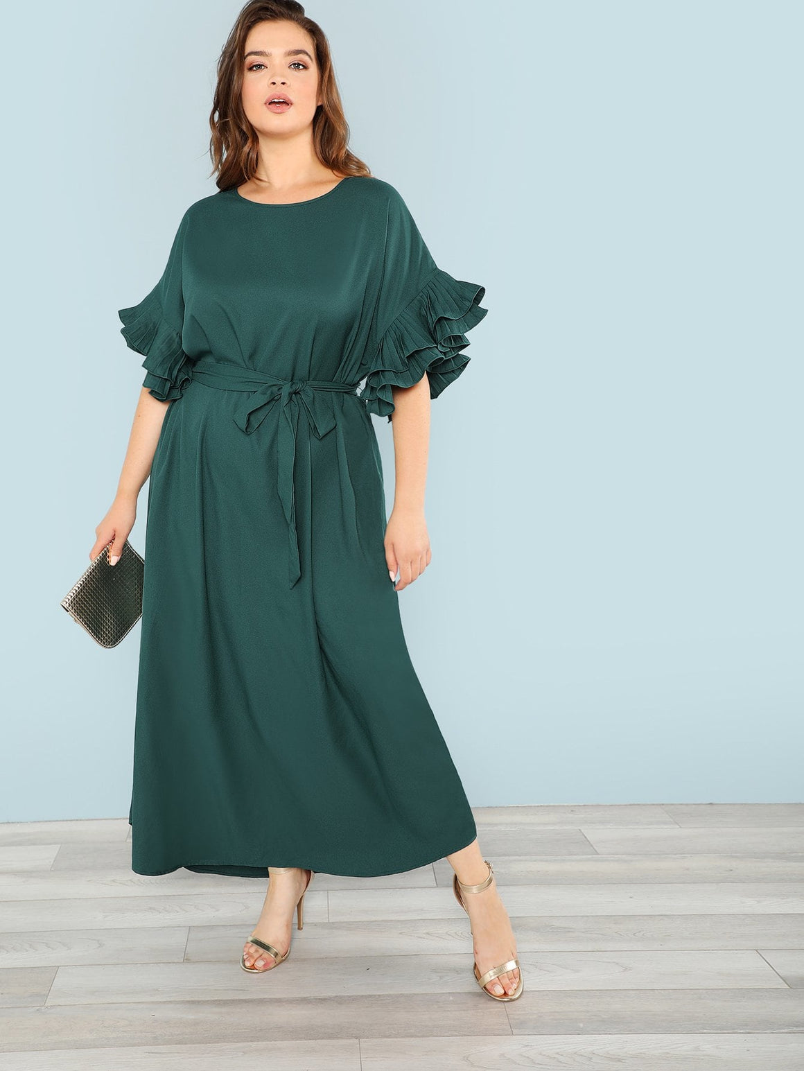 Emerald Ruffle Cuff Belted Dress