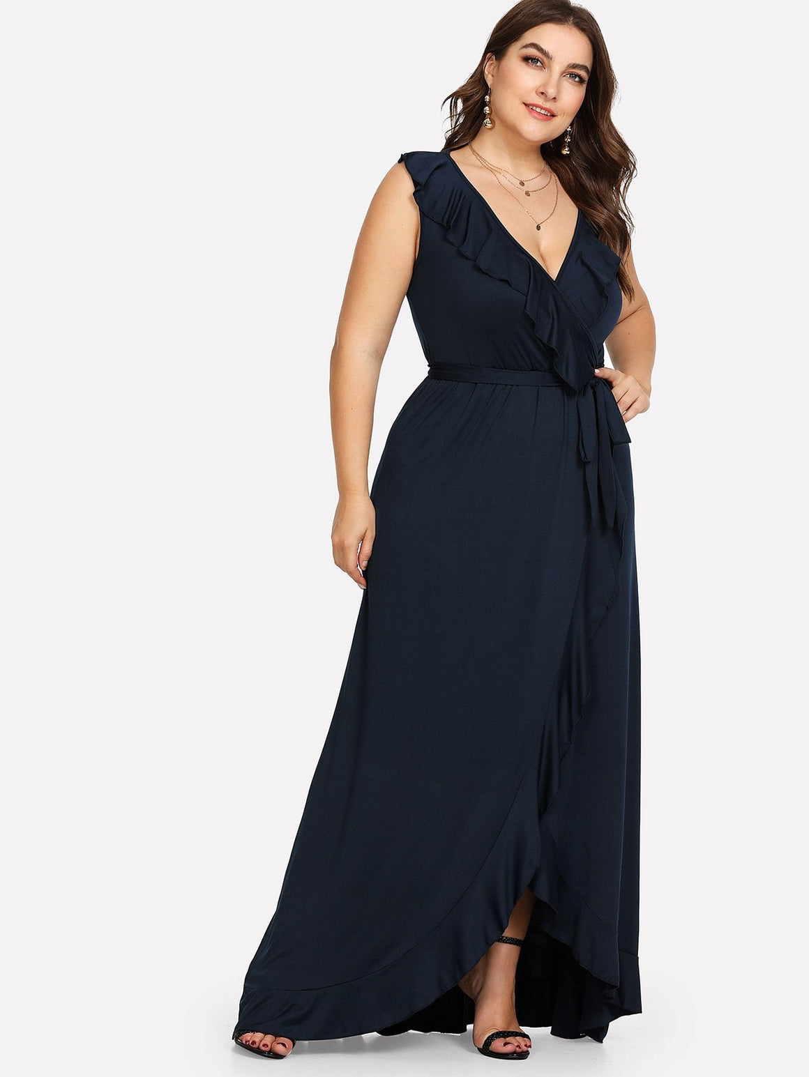 Navy Ruffle-Split Hem Knot Dress