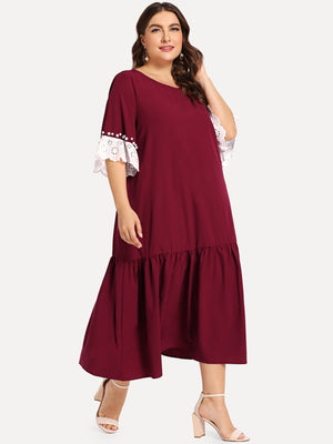 Lace Trim Ruffle Hem Dress