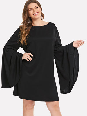 Flounce Sleeve Black Dress