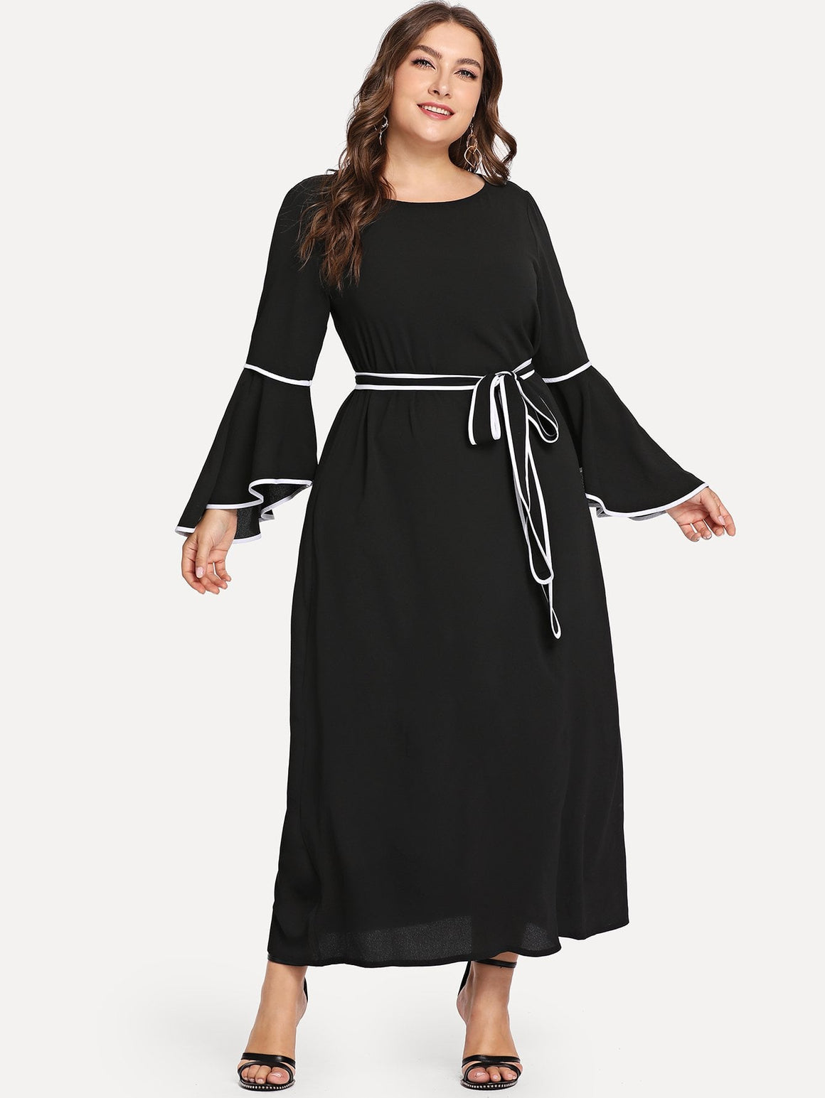 Frill Trim Belted Dress