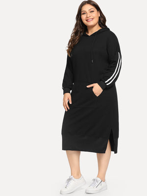 Black Striped Hooded Dress