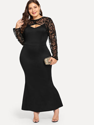 Lace Yoke Form Fitting Dress