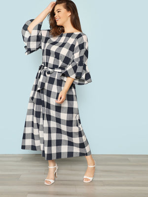 Maxi Plaid Blue Dress