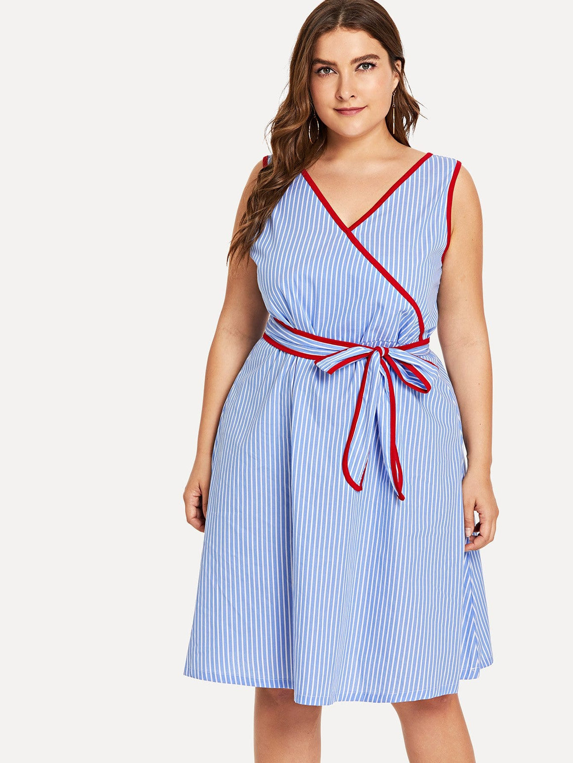 Blue Belted Striped Dress