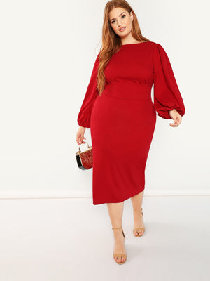 Lantern Sleeve Belted Pencil Dress