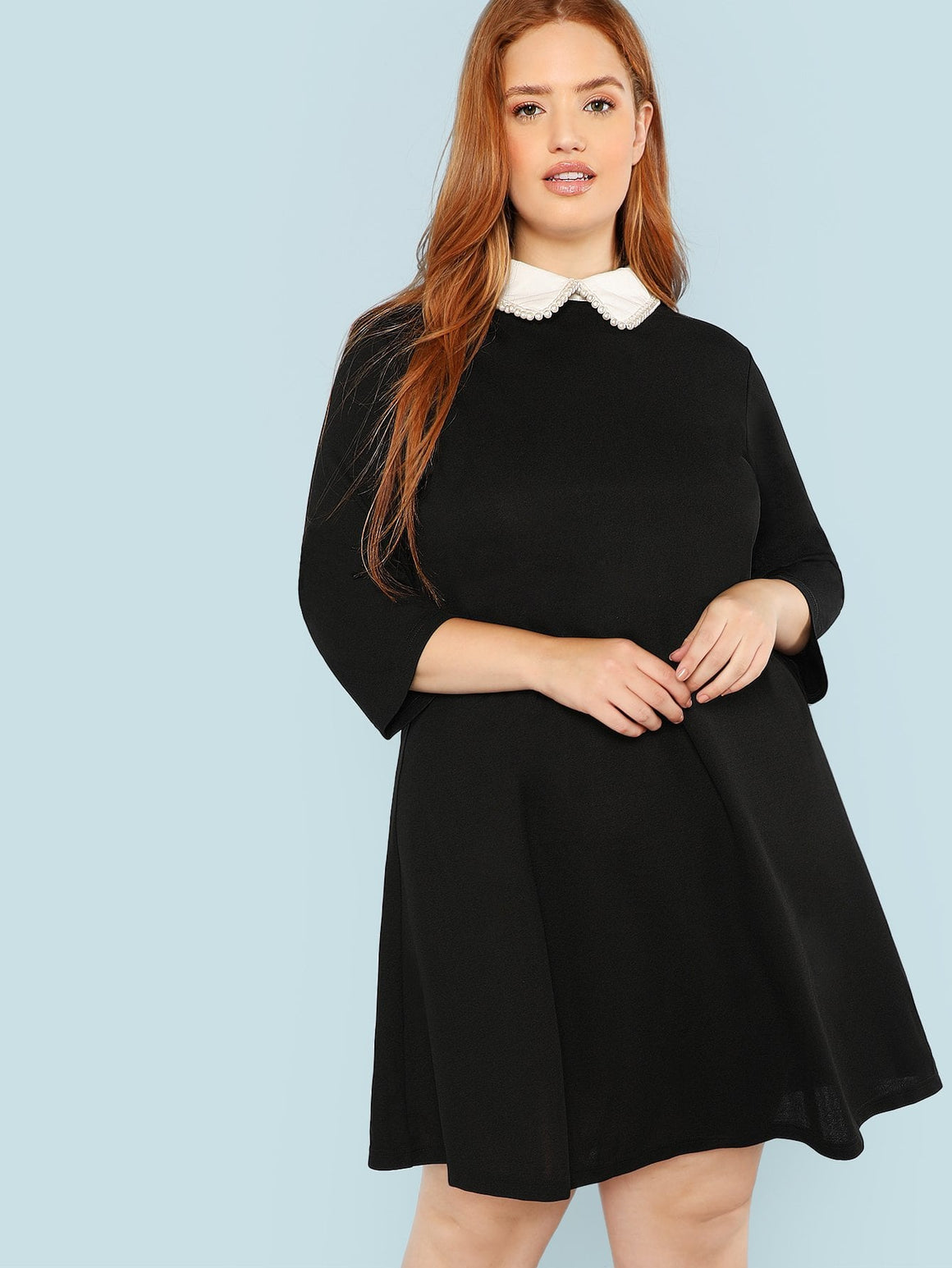 Pearl Embellished Collar Black Dress