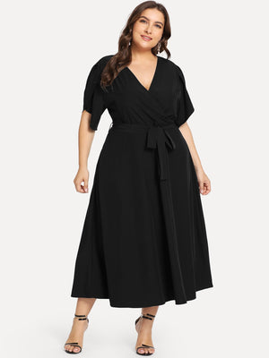 Petal Sleeve Wrap Dress