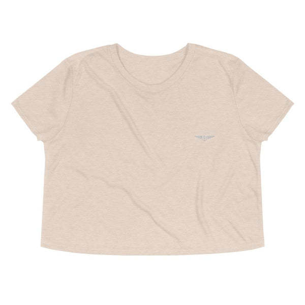 Aeronautical co Embroidered Crop Tee - Heather Dust