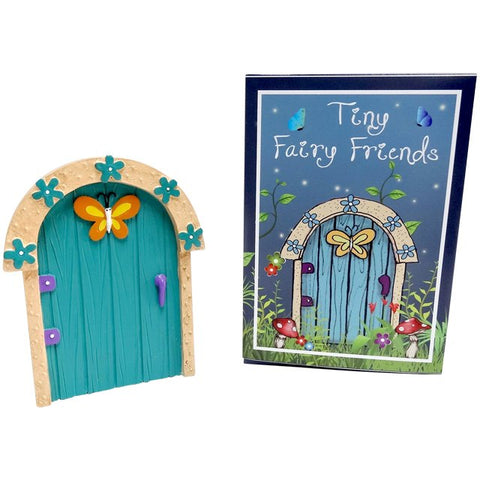 Turquoise Fairy Door With Orange Butterfly