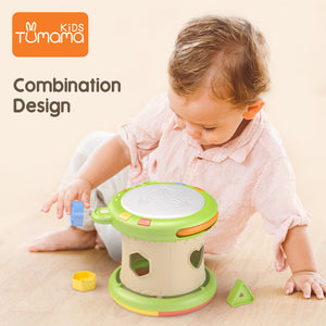 Tumama 3 in 1 Baby Shape Sorter Toys Kids Electric Hand Drum Educational Musical Instrument Toys