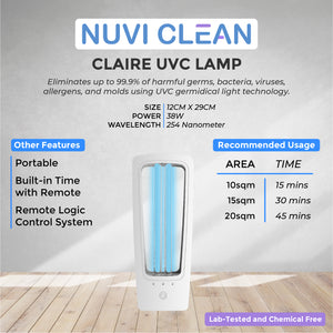 NUVI CLEAN CLAIRE UVC GERMICIDAL LAMP - - MID YEAR PROMO!!!
