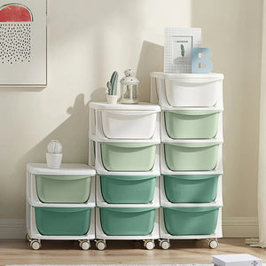 KUB Plastic Drawer Storage Box Multilayer with Wheels 5 Layers - GREEN