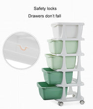 Load image into Gallery viewer, KUB Plastic Drawer Storage Box Multilayer with Wheels 5 Layers - GREEN