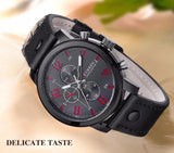Luxury Water Resistant Quartz Wristwatch with Leather Strap - Mono Electronics