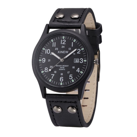 Leather Strap Quartz Army Watch
