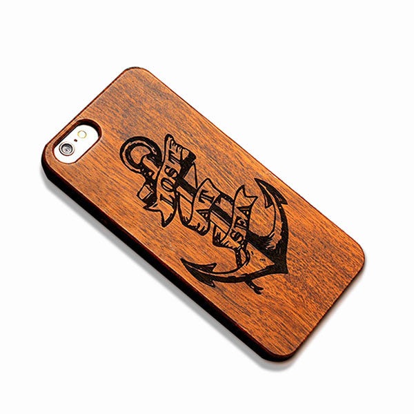 Real Wood Phone Cases For Iphone 7 7 Plus Skull Embossed Wooden + PC Cover Shell