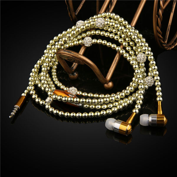 Lady Woman Beads Necklace Chain Pearl Earphone with Microphone Stereo In-ear For Xiaomi iPhone Samsung Headset
