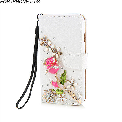 Luxury Rhinestone Crystal Rose flower Wallet Card Bling Diamond for iphone 5 5s SE 6 6S / Plus