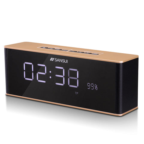 Bluetooth Speaker Alarm Clock Large LED Mirror Display