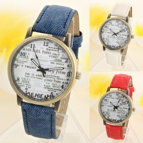 Denim Fabric News Paper Wrist Watch