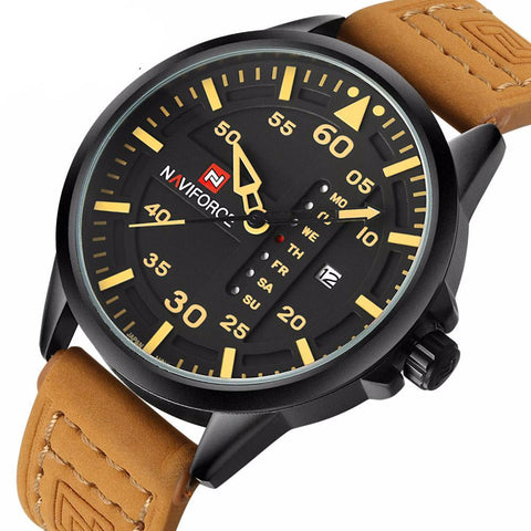 Leather Army Military Wrist Watch