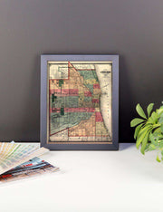 Historic Chicago Map (1875) Framed Poster - C'monStore #Wall Art