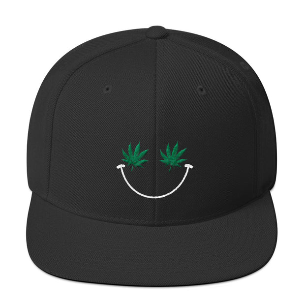 Weed Smiley Snapback Hat