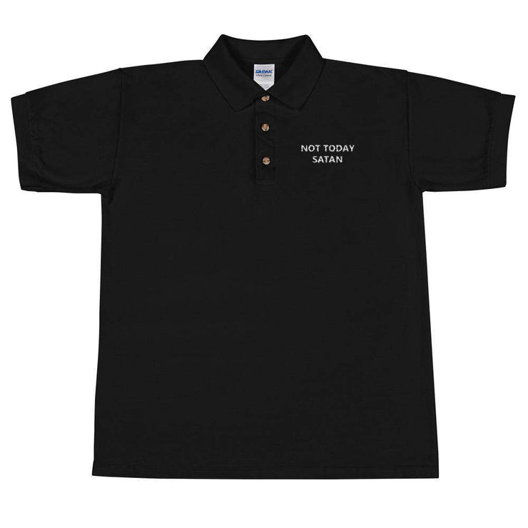 Not Today Satan Embroidered Polo Shirt - C'monStore #Polo Shirts
